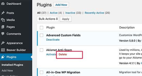 3种方法删除、停用WordPress插件